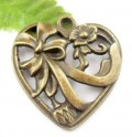 1 stk. Bronze plated Heart-shaped charms. 38 mm.