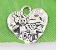 1 stk. Tibet silver Heart charms. 16 mm.