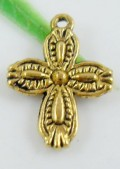1 stk. Gold plated Cross charms. 18 mm.