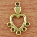 1 stk. Gold-tone heart charms. 19 mm.