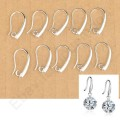 1 stk. Silver pinch hook earring for pearl crystal beads. 20 mm.