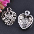 1 stk. Tibet silver heart-shaped charms. 19 mm.