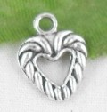 1 stk. Tibet silver Heart charms. 14 mm.