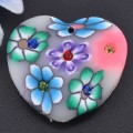 1 stk. Polymer clay heart charms. 24 mm.