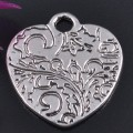 1 stk. Tibet silver heart charms. 21 mm.