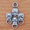 1 stk. Antique silver plated cool skull connectors, 25 mm.