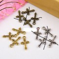 1 stk. Gold plated tiny Cross charms. 15 mm.