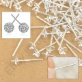 1 stk. 925 Sterling silver ear pin stud earrings. 14 mm.