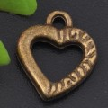 1 stk. Bronze plated heart charms. 15 mm.